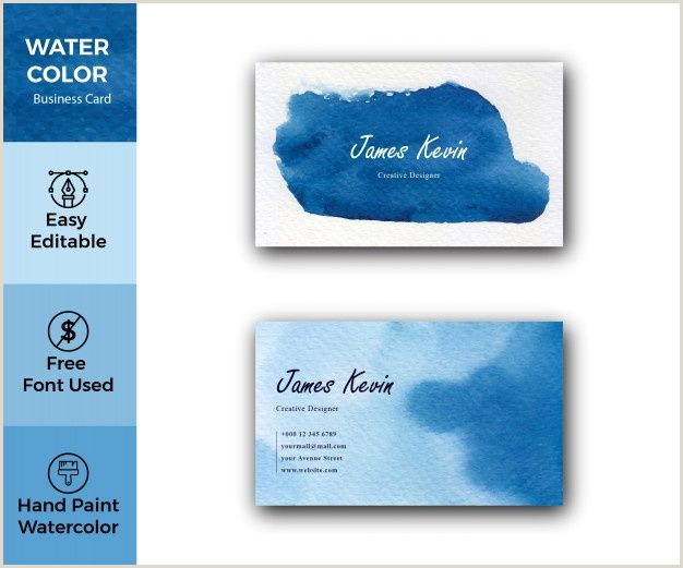 Blue Business Card Background Blue Watercolor Stains Business Card In 2020