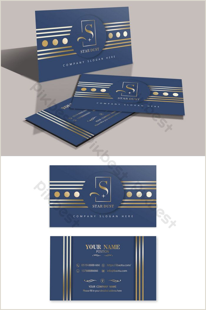 Blue Business Card Background High Grade Dark Blue Geometric Lines Layered Bronzing