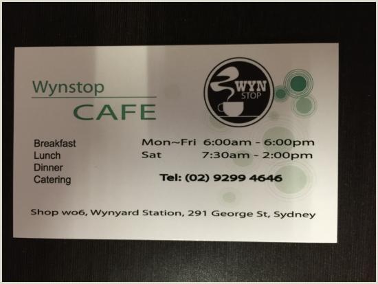 Buisness Caeds Business Card Изображение Wynstop Cafe Сидней Tripadvisor