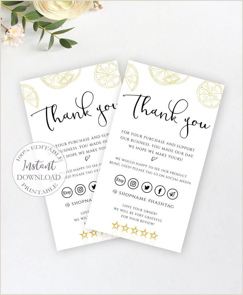 Busines Card Design Business Thank You Insert Card Gold Lemon Handmade Etsy