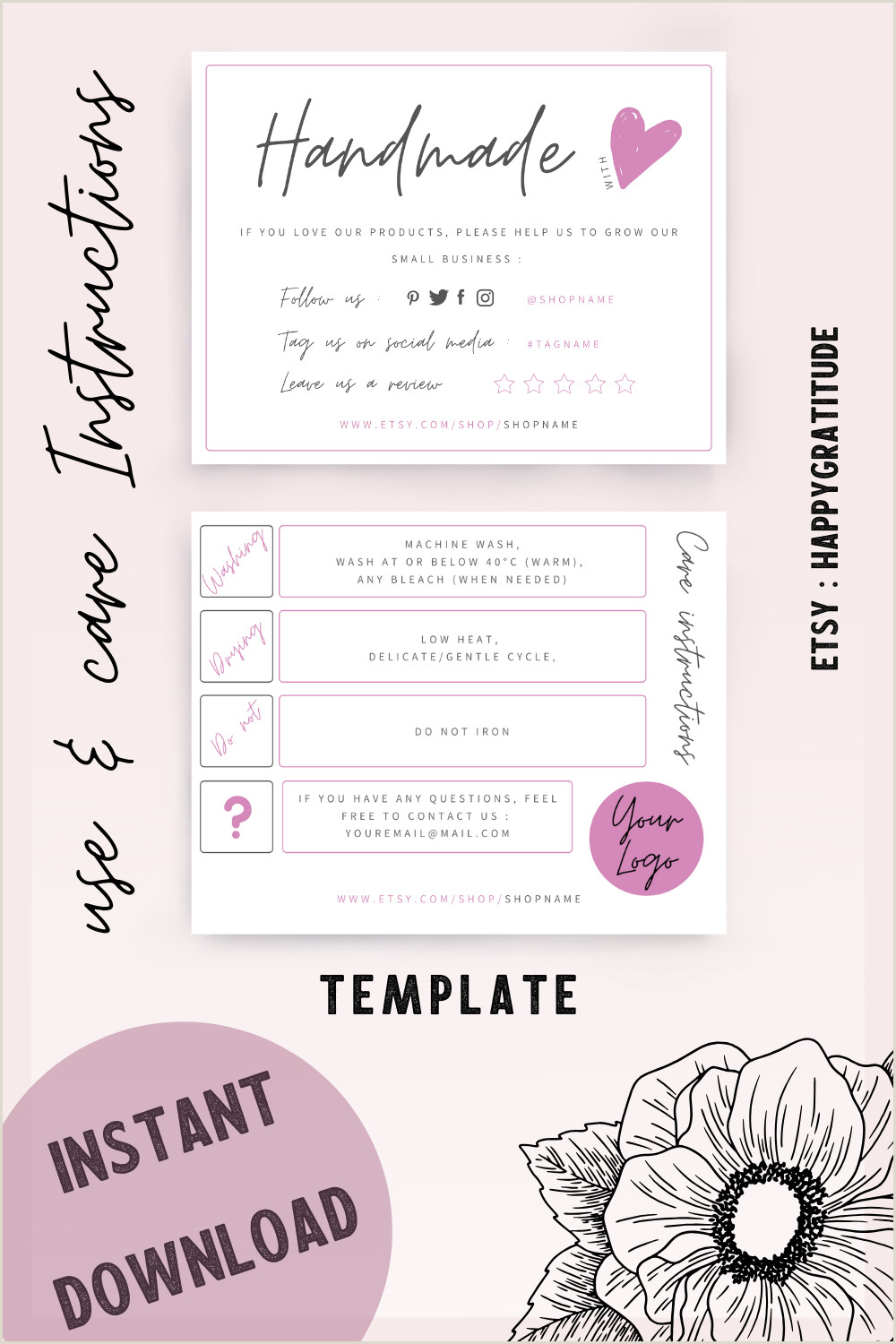 Busines Card Design Instant Download Card With Care & Use Instructions Diy