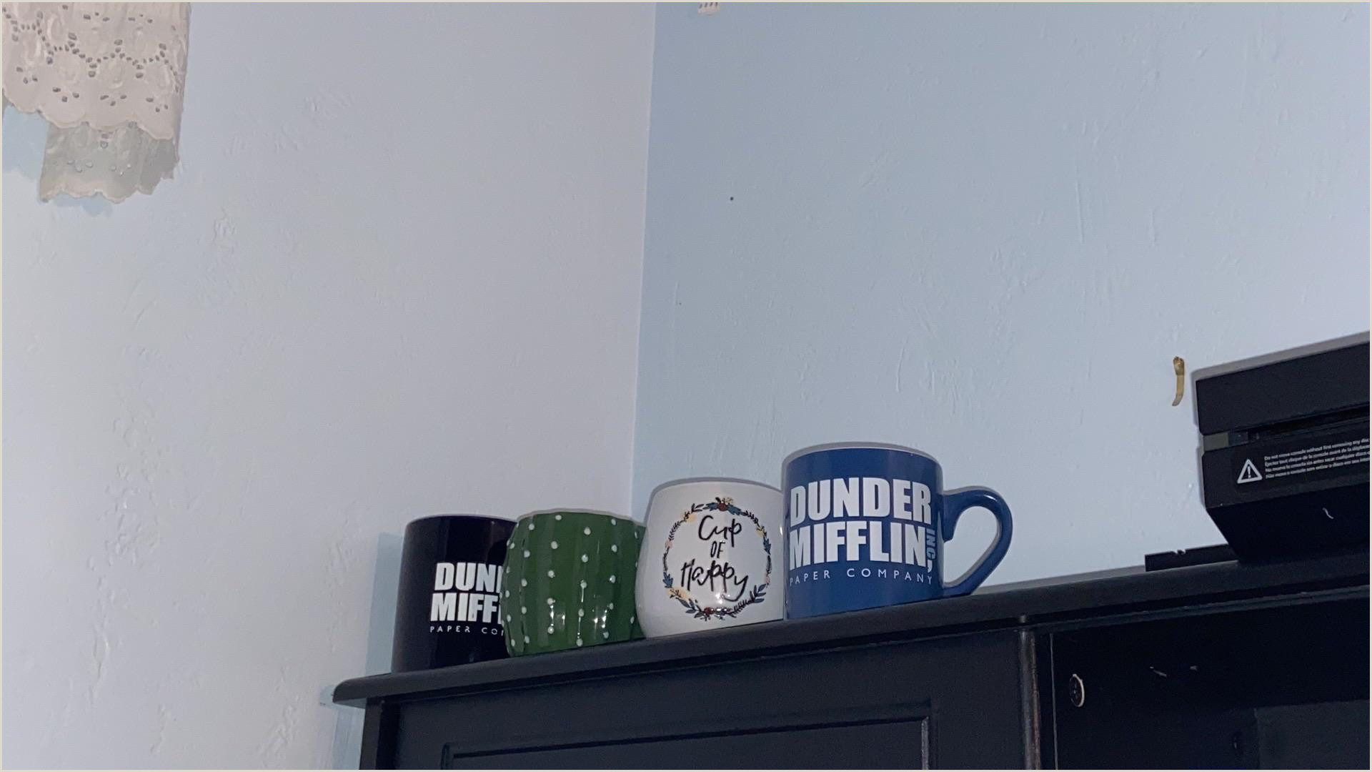 Business Acrds Started Collecting Mugs Both The Dunder Mufflin And Cactus