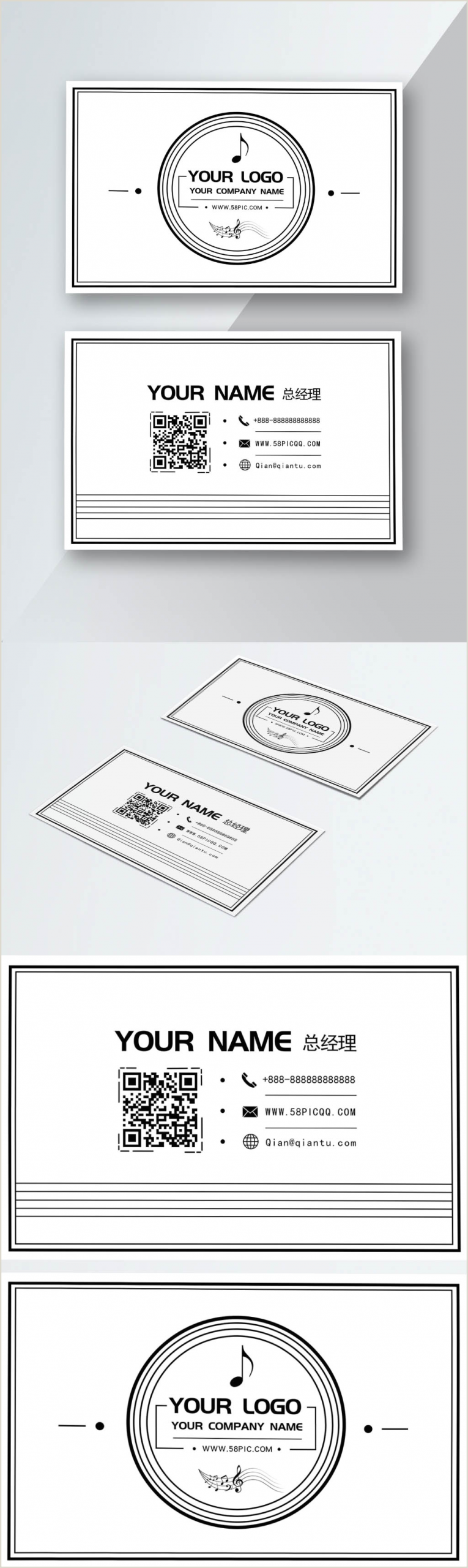 Business Card Black And White Creative Black And White Business Card Template