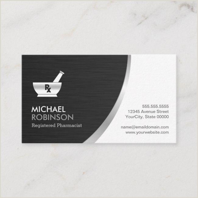 Business Card Black And White Pharmacy Pharmacist Logo Modern Black Silver Business Card