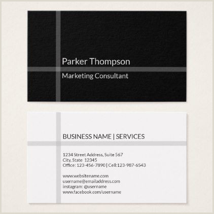 Business Card Black And White Simple Minimal Black White Stripe Modern Cross Business Card