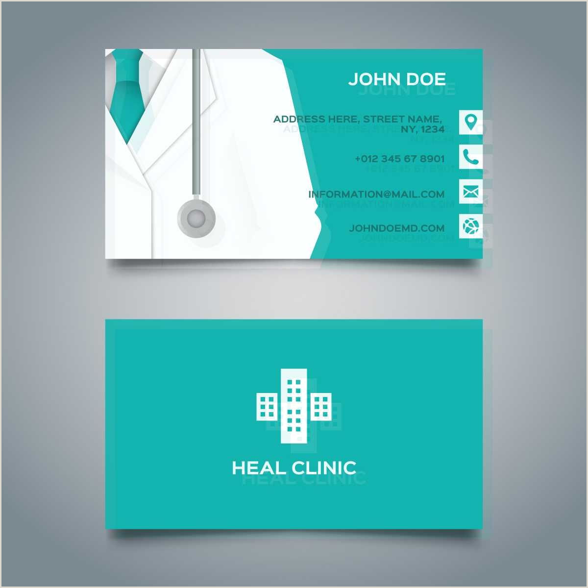 Business Card Design Examples Blue Medical Card Free