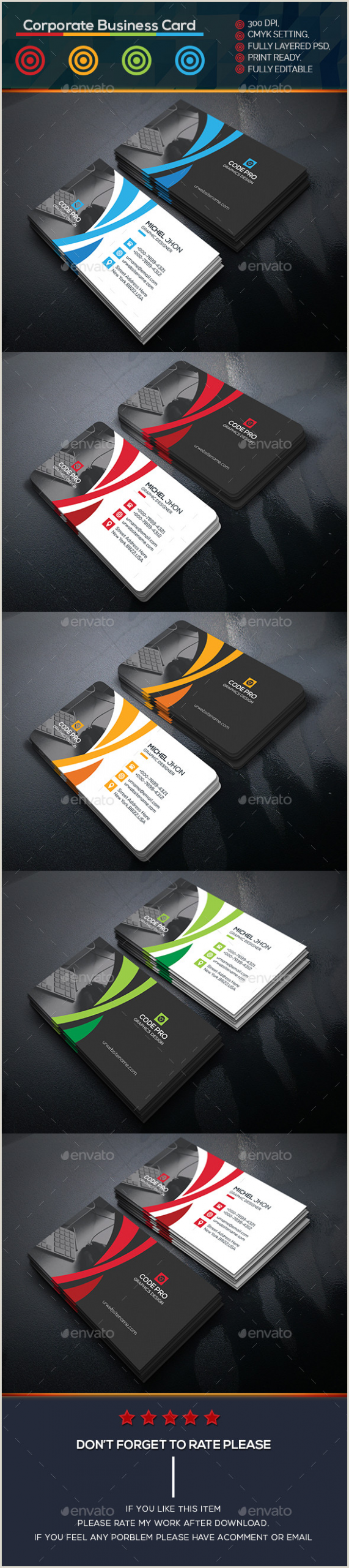 Business Card Design Pinterest Corporate Business Card Template Psd …