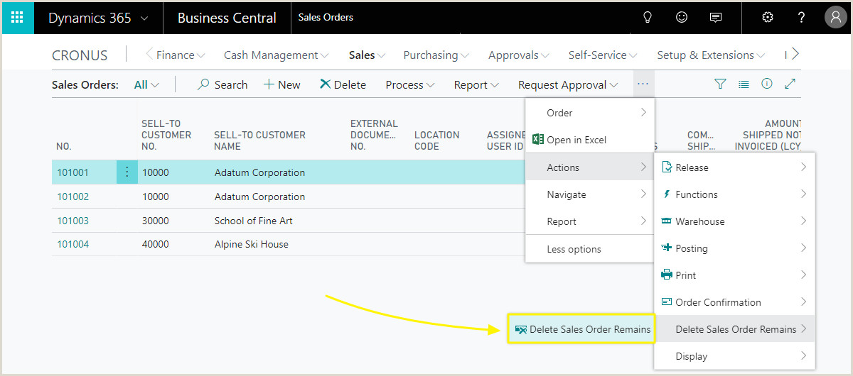 Business Card Setup Usage Removal Of Sales Order Remains