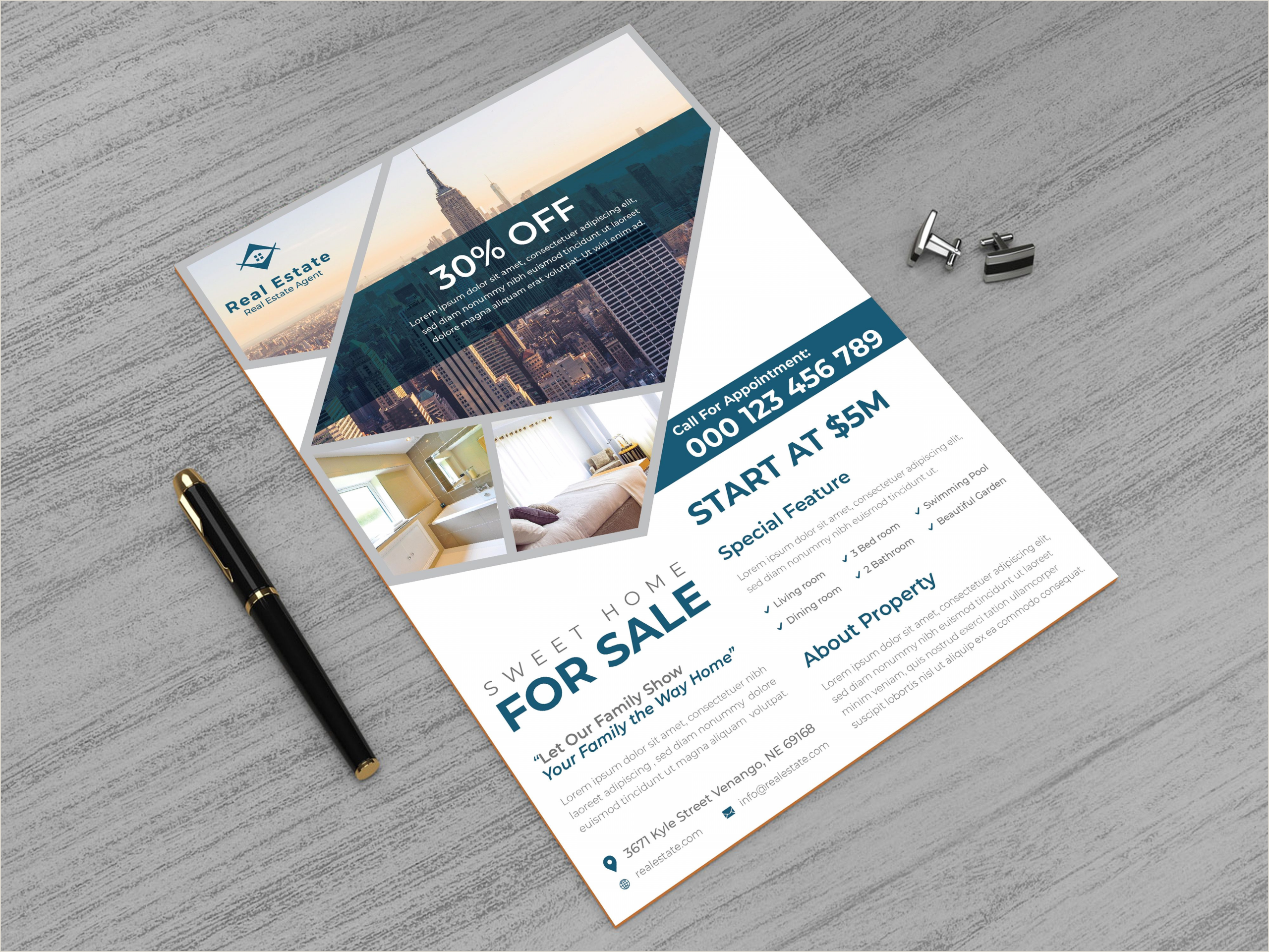 Business Card Size Ad Template Real Estate Print Ready Flyer Design Template Munez Studio