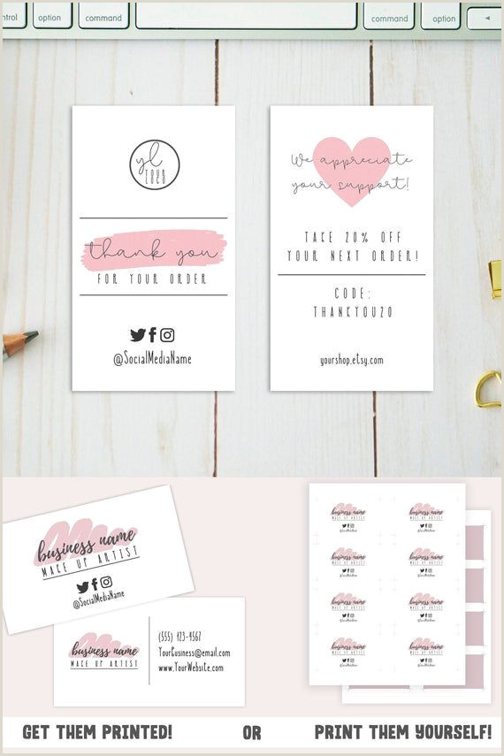 Business Card Social Media Pink Business Card Template Small Business Card Design W