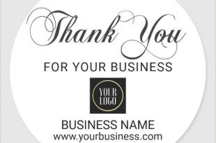 Business Card Stickers Cheap Business Corporate Thank You White Black Add Logo Classic