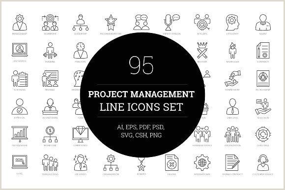 Business Card Symbols 95 Project Management Line Icons