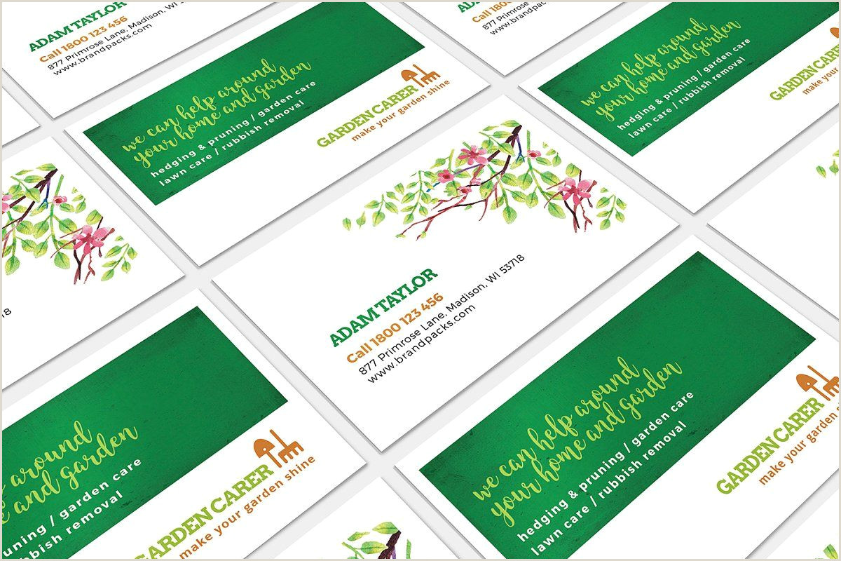 Business Card Template Front And Back Gardener Business Card Template In 2020