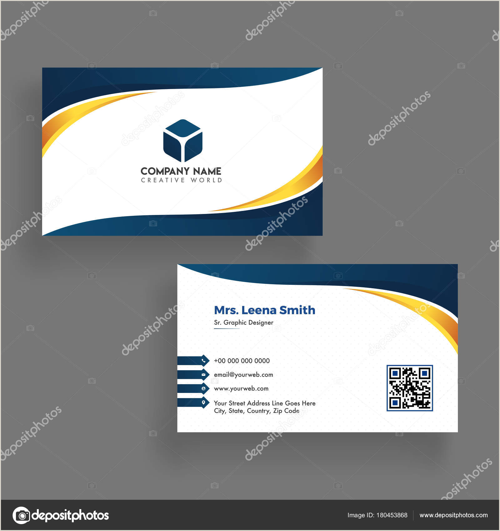 Business Card Template Front And Back Modern Business Card Template Design Both Sided Contact Card F