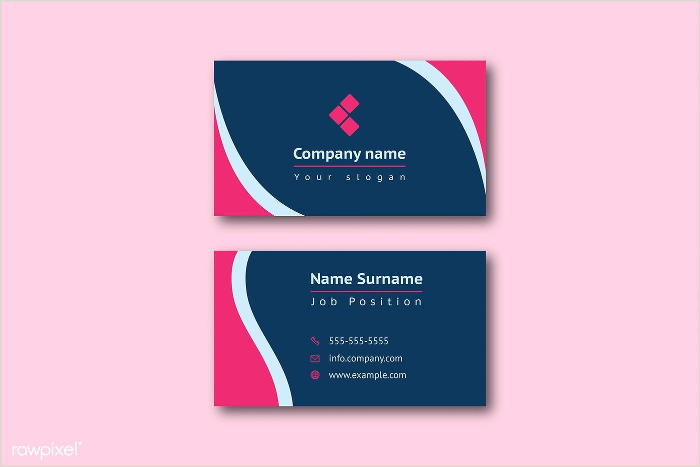 Business Card Template Front And Back Pin On Corporate Identity & Stationery Mockups