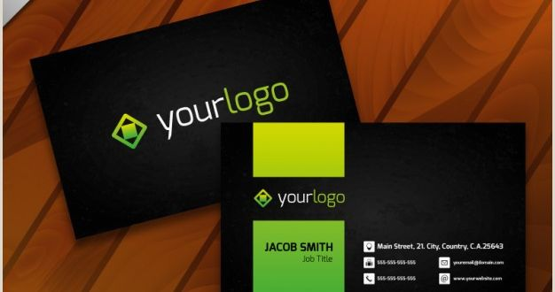 Business Card Template with Logo Free Vector