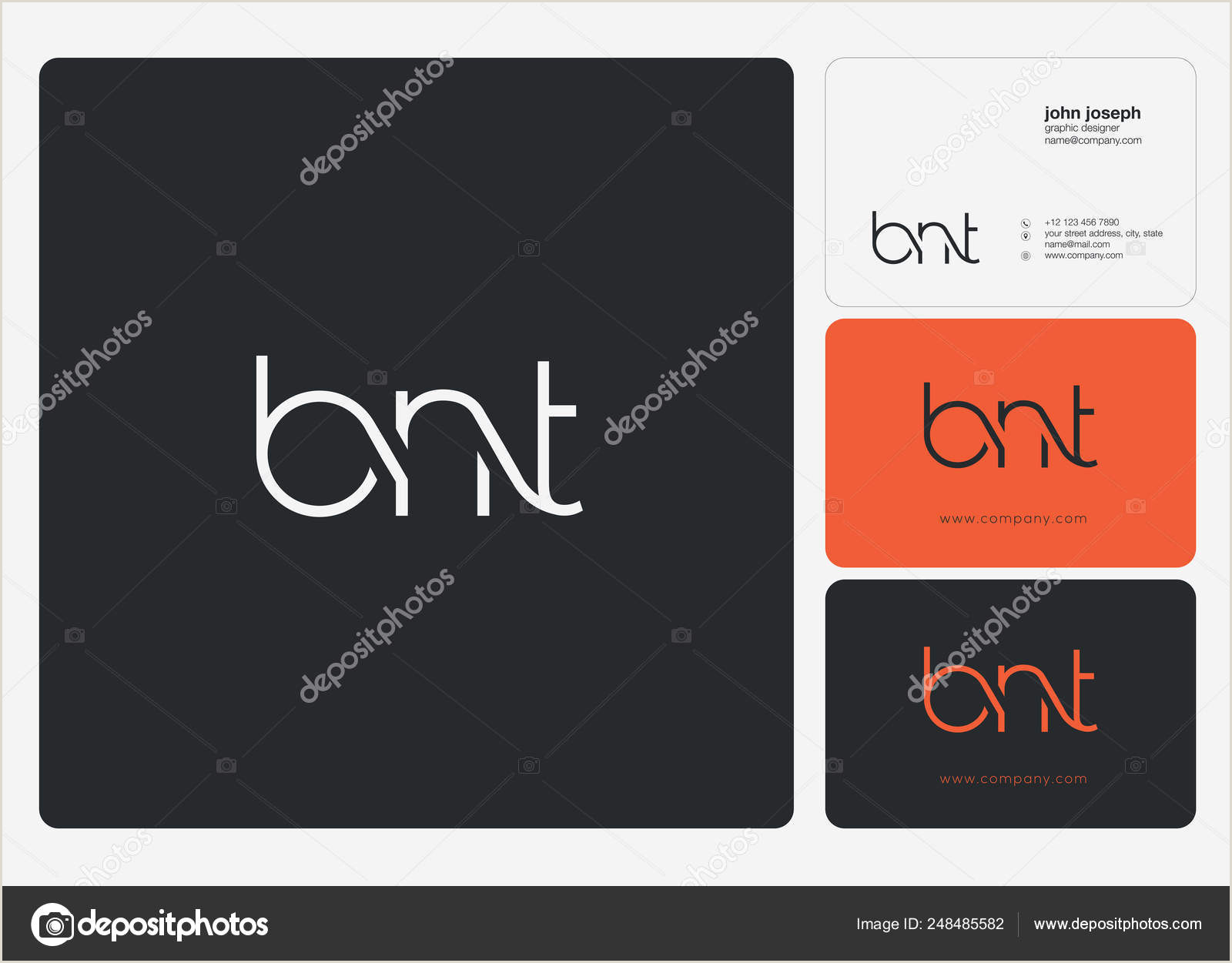 Business Card Template With Logo Logo Joint Bnt For Business Card Template Vector