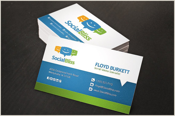 Business Card Template With Social Media Icons Social Media Business Card Template 39 Free & Premium