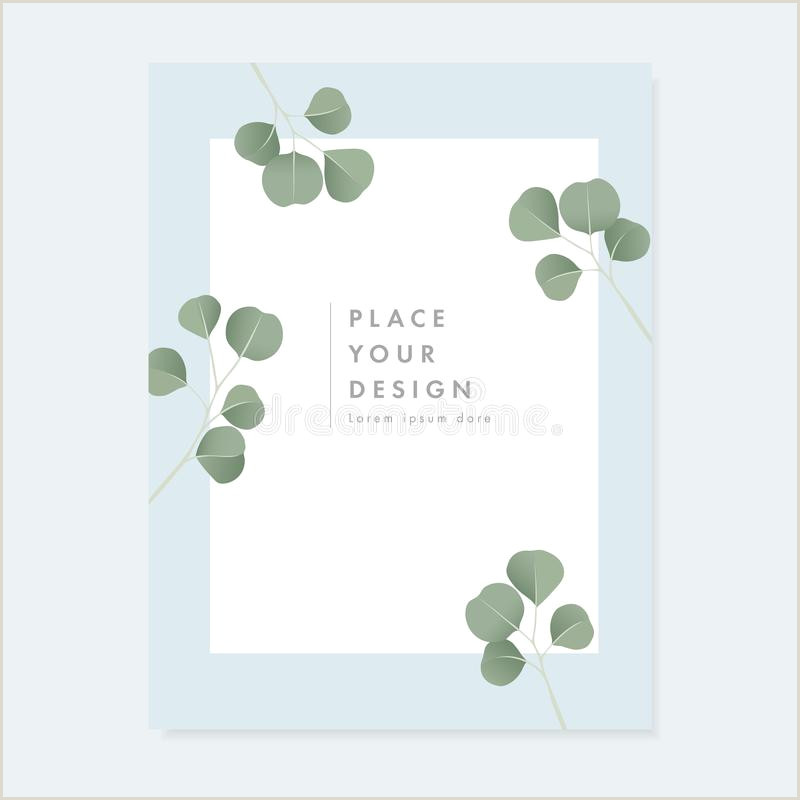 Business Card White Background Mint Green Wedding Invitation Background Stock Illustrations