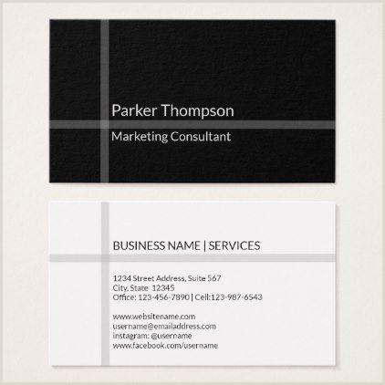 Business Card White Simple Minimal Black White Stripe Modern Cross Business Card
