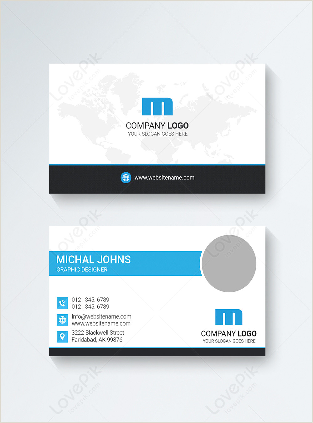 Business Card White White And Blue Pany Business Card Template Image Picture
