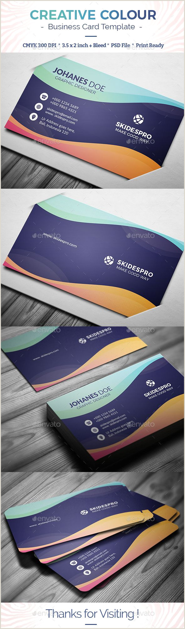 Business Card With 2 Logos Creative Colour