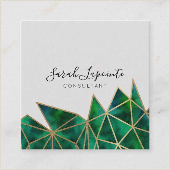 Business Card With Geometric Logo Trendy Faux Gold & Emerald Green Geometric Design Square