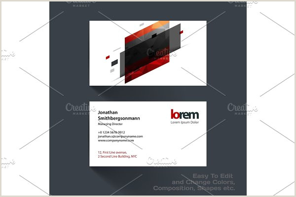 Business Card With Geometric Logo Vector Business Card Template With Colourful Strong