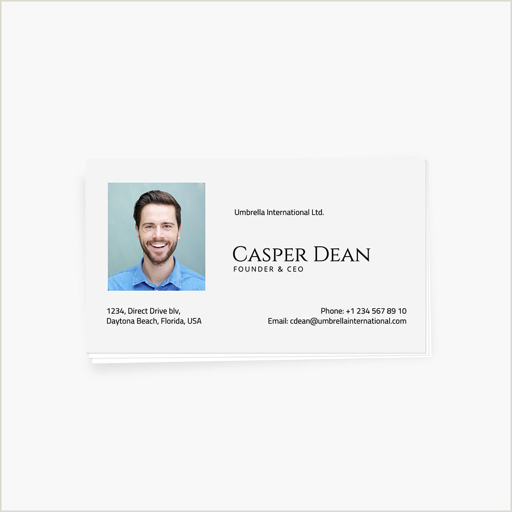Business Card With Picture Classic Business Id Card With Owner S Photo And Contacts