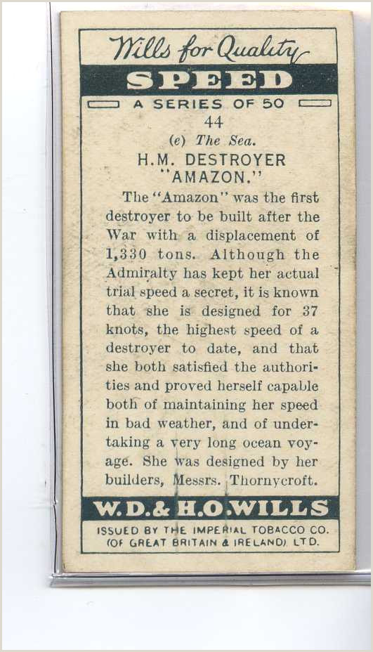 Business Cards Back Details About Je8455 Wills Speed 1930 H M Destroyer Amazon 1930 44