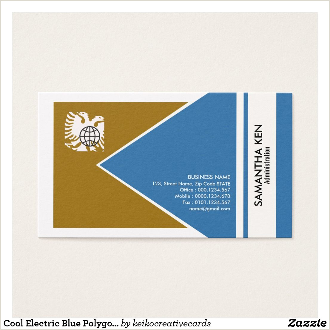 Business Cards Print Your Own Cool Electric Blue Polygon Admin Business Card