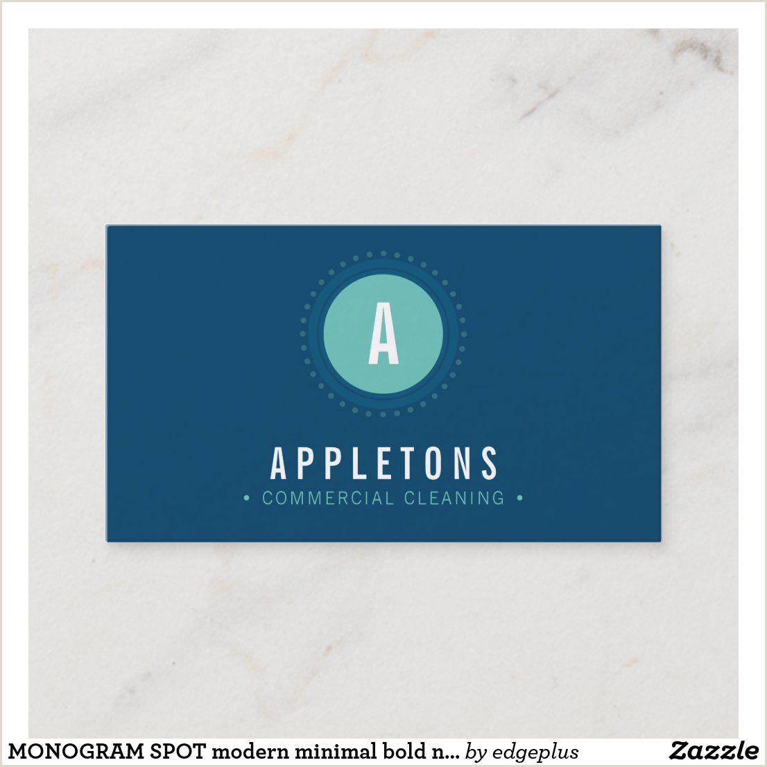 Business Cards That Stand Out Monogram Spot Modern Minimal Bold Navy Blue Mint Business
