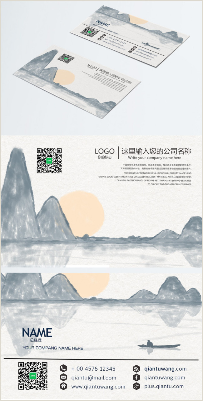 Business Cards Unique Asian Hand Painted Chinese Style Business Card Design Template