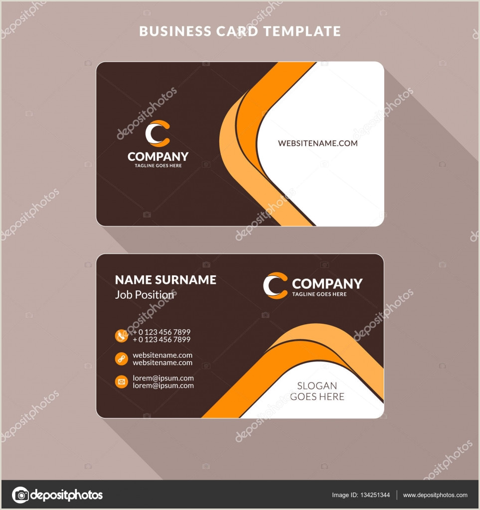 Business Cards Unique Format Creative And Clean Double Sided Business Card Template Orange And Brown Colors Flat Design Vector Illustration Stationery Design