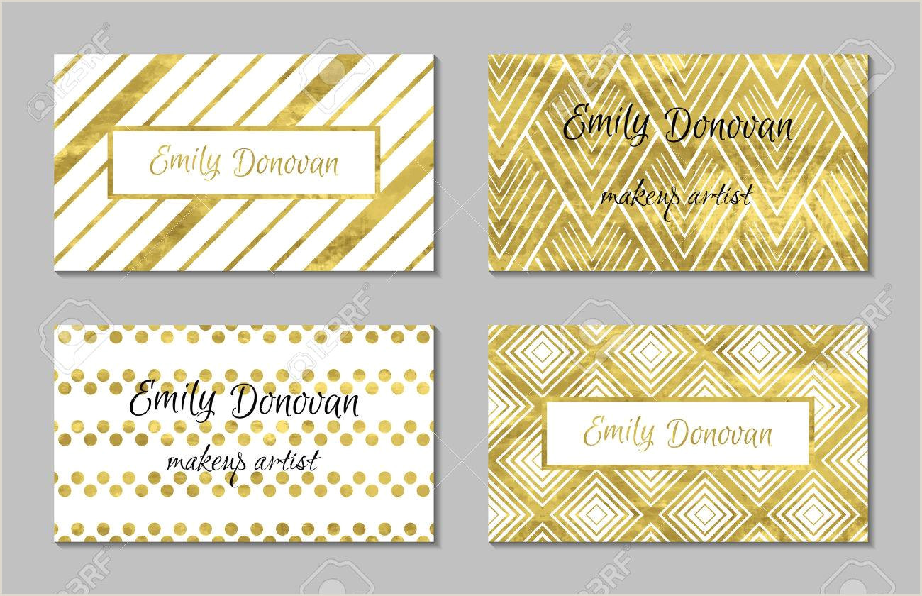 Business Cards With Gold Lettering Set Of Gold Business Card Template Or T Cards Texture Of
