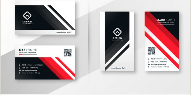 Call Card Designs Geometric Business Card Design In Red theme Vector Image