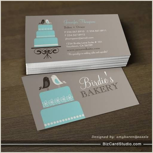 Calling Card Example Birds And Cake Business Card Templates