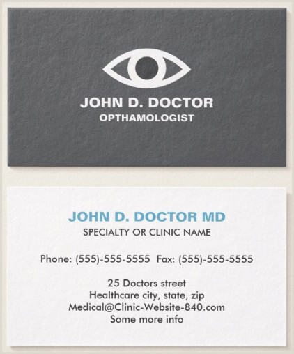 Calling Card Examples Opthamologist Or Optometrist Gray Business Card