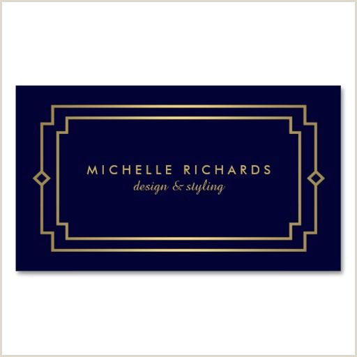 Classic Business Card Design Elegant Art Deco Professional Navy Gold Business Card