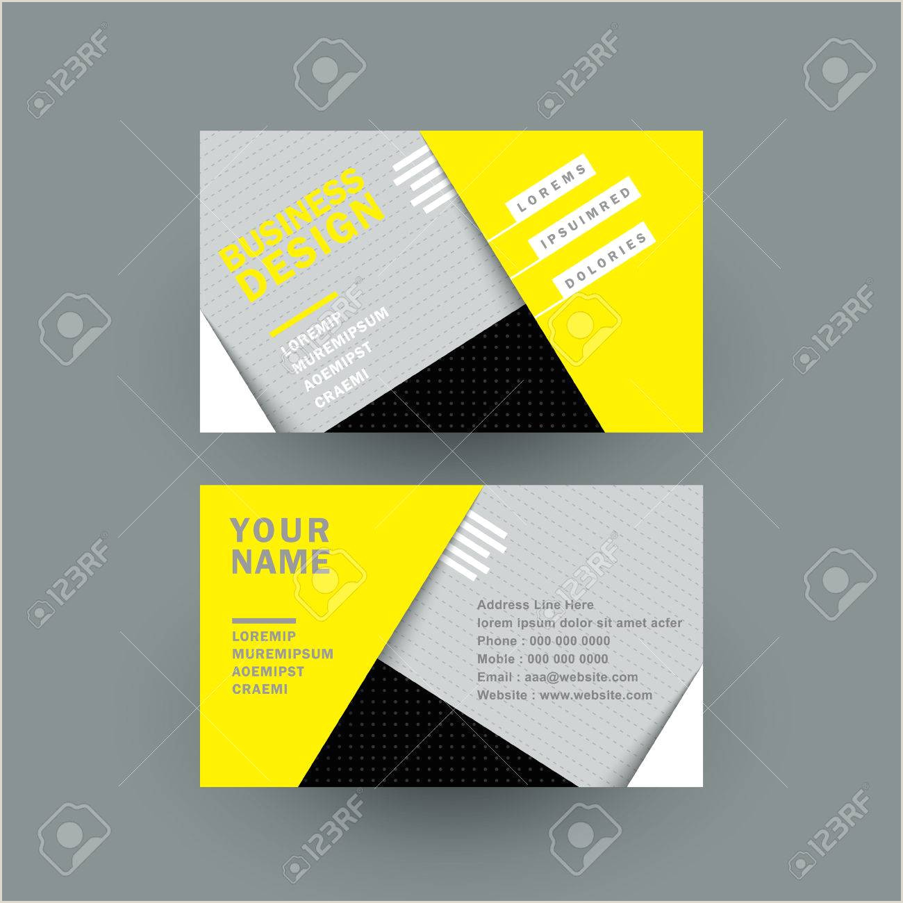 Colored Perforated Business Card Stock Modern Paper Texture Business Card In Yellow And Grey