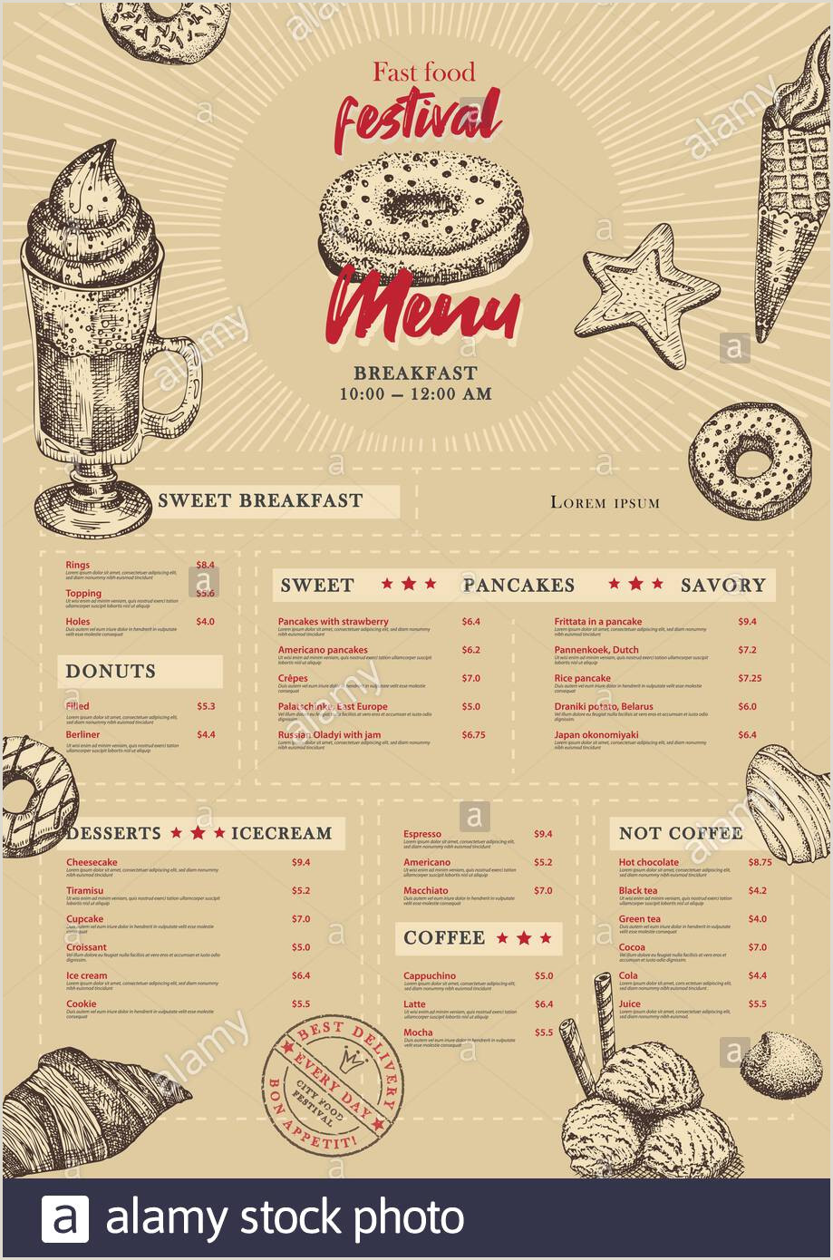 Contact Cards Template City Food Festival Menu Design Template In Retro Style On
