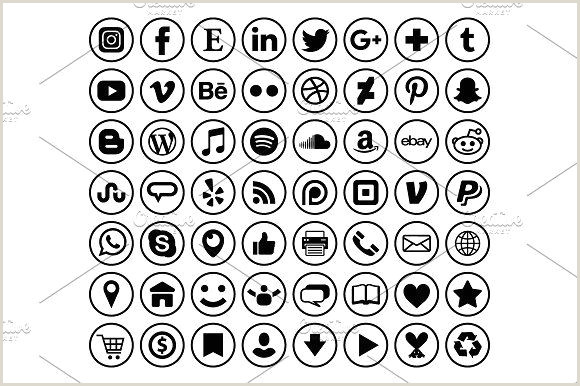 Contact Icons For Business Cards Circle Border Social Media Icons