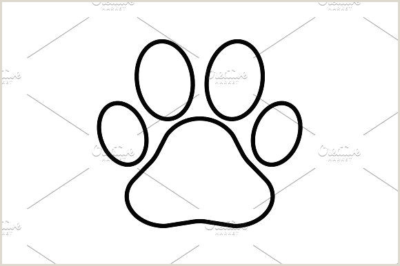 Contact Icons For Business Cards Paw Print Line Icon Vector Black