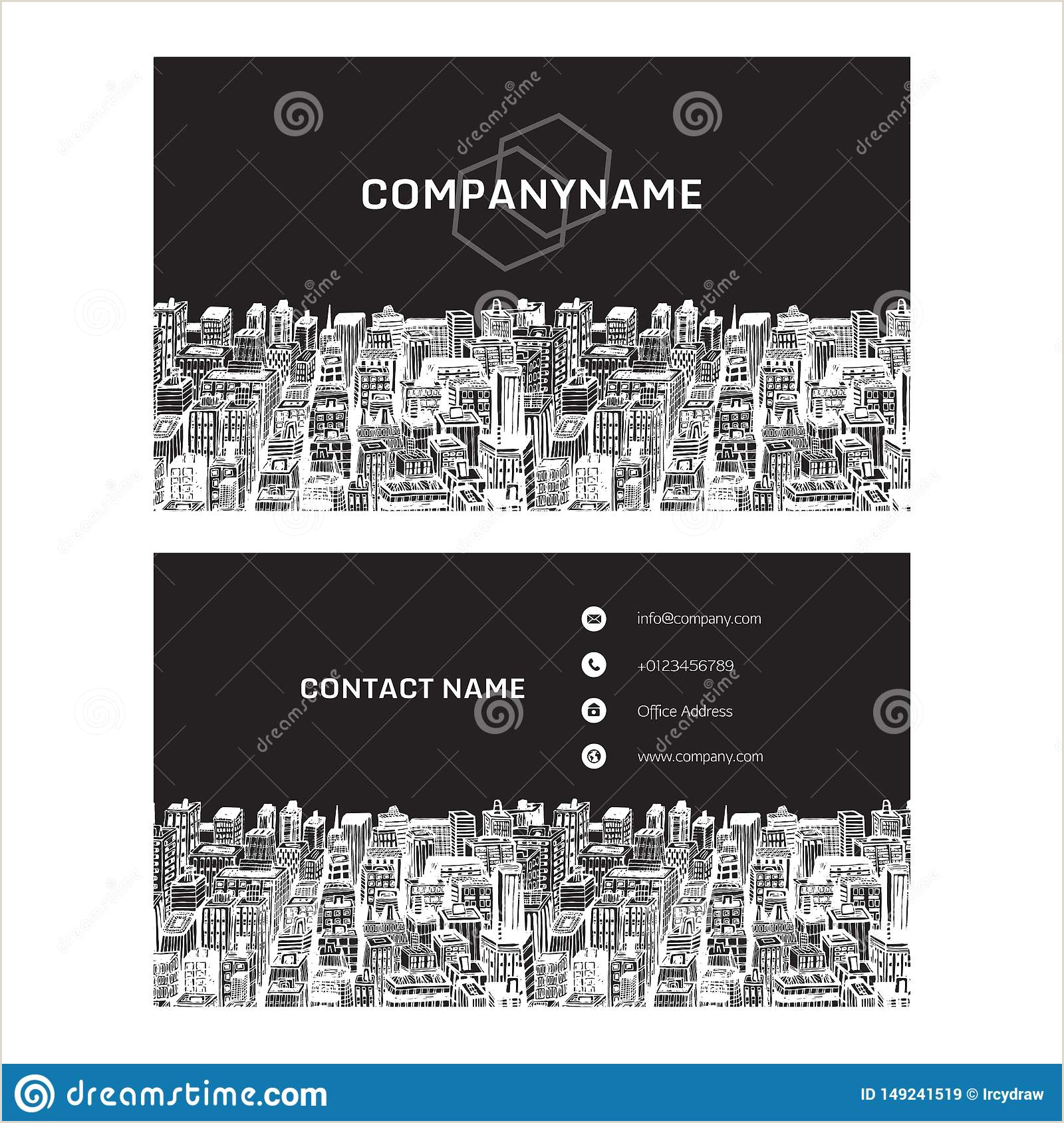Cool Unique Business Cards For Realtores Real Estate Business Card With Hand Drawn Cityscape Stock