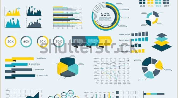 Create Business Card Template Infographics Elements Collection Business Vector
