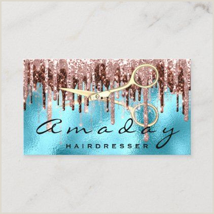 Creative Makeup Business Cards Professional Hairdresser Golden Scissors Blue Business Card