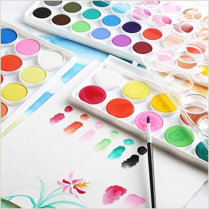 Creative Makeup Business Cards Solid Water Color Kit Art Painting Set 12 28 36 With Paint Brush Plastic Palette For Kids Beginners Student Portable Paint Set 0f5u Gifts Kids