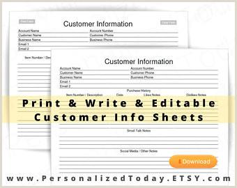 Customer Info Card Template Customer Info Card