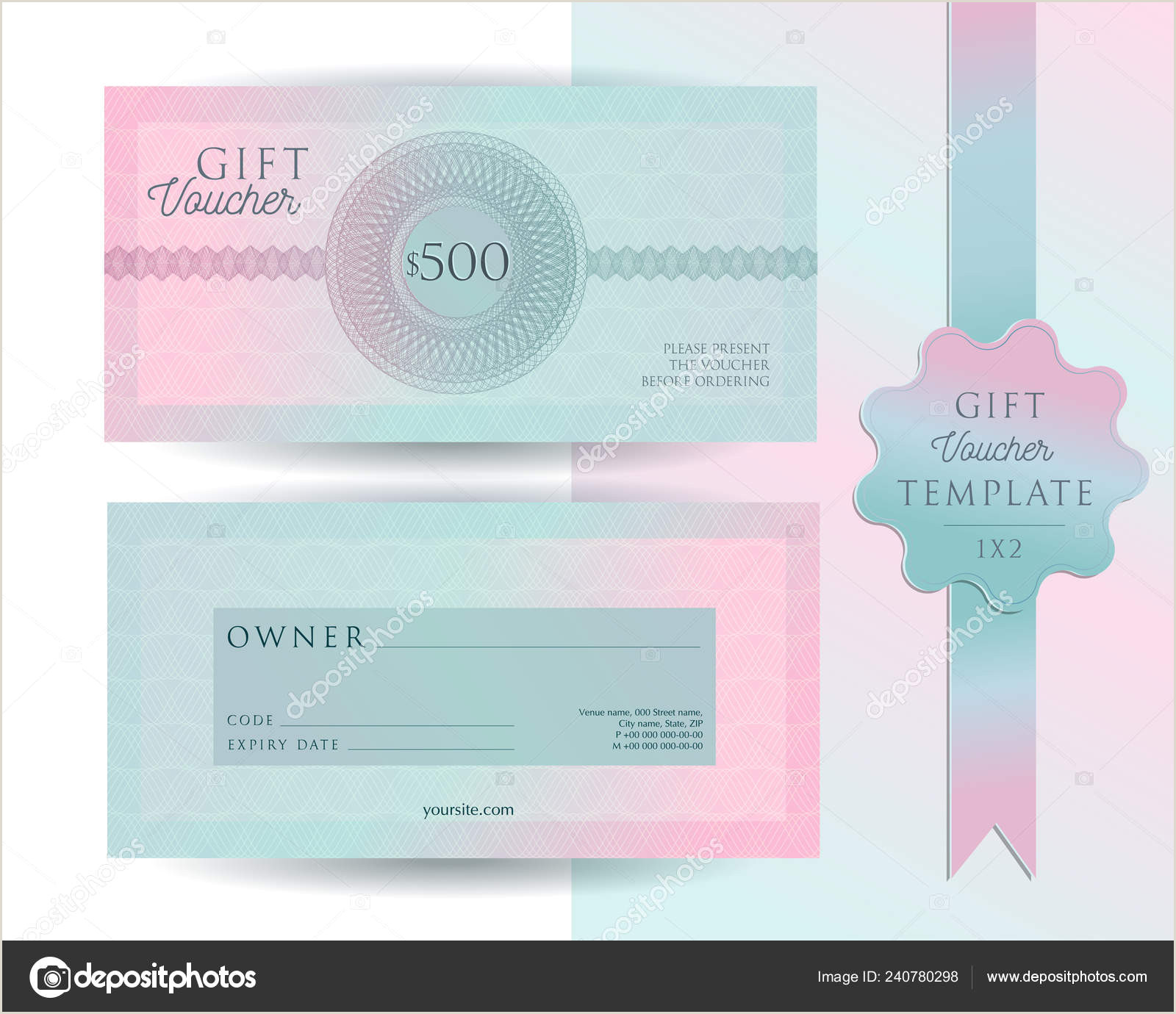 Customer Info Card Template Gift Voucher Card Template Modern Discount 500 Certificate Layout With Guilloche Watermarks Pattern Fashion Bright Pink Mint Background Design With
