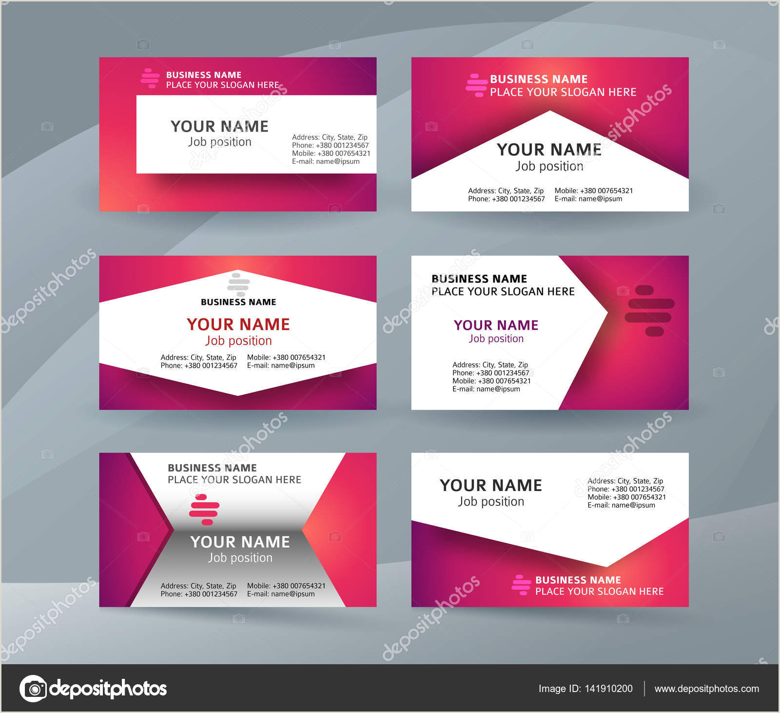Cute Business Card Stand Set Template Business Card Layout Sided01